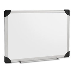 Lorell - Lorell Aluminum Frame Dry Erase Board - 36 Width x 24 Height - White Styrene Sur - Collect your thoughts and ideas on this convenient easy to write on, easy to erase 36 x 24 whiteboard that features a laminated styrene surface and sturdy aluminum frame that withstands years of use. Its easy-to-clean surface resists scratching and ghosting. Board is perfect for organizing your schedule, planning your projects, leaving messages and effectively leading a meeting or discussion. Whiteboard can be easily mounted horizontally or vertically with its four-corner mounting system. Low odor, nontoxic whiteboard markers (sold separately) come in a wide variety of colors and feature quick drying, smear proof ink. Writing or drawing easily erases with a dry cloth, tissue or eraser (sold separately). Board includes a handy marker and eraser holder.