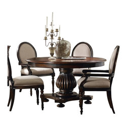 "Hooker Furniture - Eastridge 54"" Round Pedestal Dining Table - White glove, in-home delivery included!  Crafted using hardwood solids and cherry veneers, the majestic beauty of the Eastridge collection is sure to please.  One 20"" leaf."