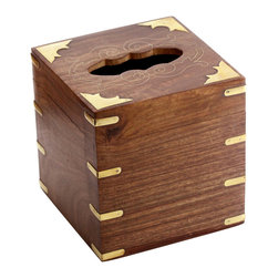 SouvNear - SouvNear Big Square Wooden Tissue Box Cover / Holder with Brass Inlay Art-Work - * Handmade in solid rosewood - good for a lifetime.