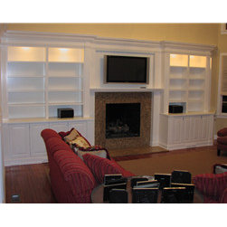 Custom Built Bookcases/Fireplace -