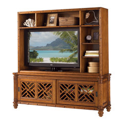 "Tommy Bahama Home - Nevis 74"" TV Stand Entertainment Console With Hutch, Plantation - Island Estate Collection. The refined Caribbean styling of Island Estate is infused with a rich blending of natural materials like woven Abaca and Lampakanai, Coco shell, Penn shell, leather wrapped bamboo, and woven rattan. The rich Plantation finish blends effortlessly with the Noche Black, Cilantro Green, and Sangria Red accent finishes, while signature island fabrics draw the outdoors in. Capture the essence of sophisticated island living with Island Estate from Tommy Bahama Home, a relaxed approach to the finer things in life."