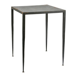 Kathy Kuo Home - Hogan Modern Hammered Antique Brown Iron End Table - Square - Who says rustic can't be sleek?  This table proves it can be done.  With slim tapered legs, this end table gets an earthy accent with a hammered iron finish.  Sculptural, sexy and smart, this piece would be perfect in contemporary environments of every stripe.