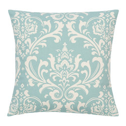 Look Here Jane, LLC - Damask Village Blue Natural Pillow Cover - PILLOW COVER