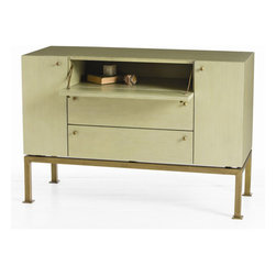 "Arteriors - Arteriors Home - Gunther Credenza - 5359 - This uniquely sized console with a narrow drop front, two doors and two drawers is finished in a beautiful light sage green hand painted lacquer finish on all sides, making it the perfect candidate to float between two chairs. Features: Gunther Collection Credenza Light Sage Painted WoodAntique Brass Hardware Some Assembly Required. Dimensions: W: 44"" x D: 18"" x H: 30.5"""