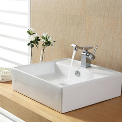 Kraus - Kraus White Square Ceramic Sink and Unicus Basin Faucet - Add a touch of elegance to your bathroom with a ceramic sink combo