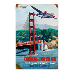 California Leads Metal Sign Wall Decor 12 x 18 - California Leads Metal Sign Wall Decor From the Victory Girl licensed collection, this California Leads vintage metal sign measures 12 inches by 18 inches and weighs in at 2 lb(s). This vintage metal sign is hand made in the USA using heavy gauge american steel and a process known as sublimation, where the image is baked into a powder coating for a durable and long lasting finish. It then undergoes a vintaging process by hand to give it an aged look and feel. This vintage metal sign is drilled and riveted for easy hanging.