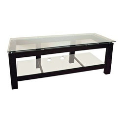 Plateau SL-2V 64 Inch TV Stand in Black - The Plateau SL-2V 64-Inch TV Stand in Black has the ultra modern glass and black look to match your contemporary décor and is designed to accommodate today's electronic components. This TV stand is made of wood veneers on MDF frame coated in a durable satin black finish. It has two shelves of strong safety glass that have polished edges. The lower shelf includes two cord management holes to keep your wires and cables organized. The top shelf is designed to hold a 57-inch and larger flat panel TV. Some assembly required.About Plateau CorporationPlateau Corporation utilizes the finest materials to provide you with state of the art audio and video home theater furniture systems. Entertainment centers created by Plateau Corporation are a fusion of innovative engineering and contemporary design. Their product list includes entertainment centers, media storage, TV armoires, and TV stands that are all are easy to assemble, incredibly durable, and specially made to highlight your audio/video system. Their unique entertainment centers can grow as your system grows.