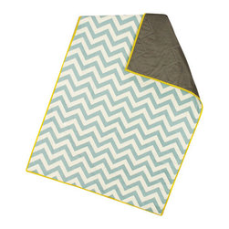 abbey's house - Baby quilt-Chevron - This quilt is made with a solid piece of blue and white chevron material. The back is a solid brown/grey that has a nice satin feel. The yellow binding is a great pop of color. This is a small quilt that is perfect for covering a baby or putting on the floor as a play mat.