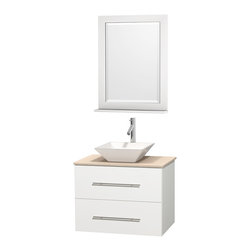 """Wyndham Collection - Centra Bathroom Vanity in White,Marble Top,Pyra White Sink,24"""" Mir - Simplicity and elegance combine in the perfect lines of the Centra vanity by the Wyndham Collection. If cutting-edge contemporary design is your style then the Centra vanity is for you - modern, chic and built to last a lifetime. Available with green glass, pure white man-made stone, ivory marble or white carrera marble counters, with stunning vessel or undermount sink(s) and matching mirror(s). Featuring soft close door hinges, drawer glides, and meticulously finished with brushed chrome hardware. The attention to detail on this beautiful vanity is second to none."""