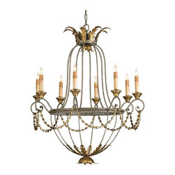 Kathy Kuo Home - Elegance Open frame Gold Leaf 8 Light Chandelier - Elegance is, indeed, the appropriate name for this chandelier. Its embellishments lend just the right tough of detail to the graceful form. Etruscan and Gold Leaf are the finishes.