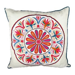 Design Accents Uzbek Suzani Pillow - White / Pink - The cheery design and vibrant colors of the Design Accents Uzbek Suzani Pillow - White / Pink make it a favorite. Its soft and durable cotton construction ensure you'll have this beauty for years. Hand-embroidered in a floral pattern, the stylized, ethnic appearance is sure to brighten up any space.