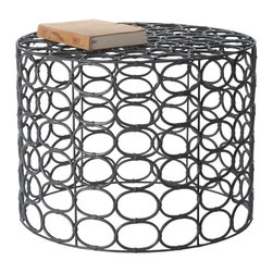 Lazy Susan - Lazy Susan Weathered Gray Oval Ring Side Table X-210664 - Made from wicker and metal