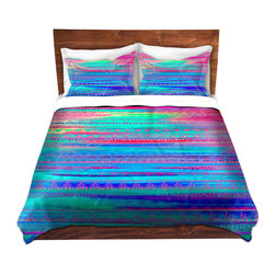 DiaNoche Designs - Duvet Cover Microfiber by Nika Martinez - Ethnic Twilight - DiaNoche Designs works with artists from around the world to bring unique, artistic products to decorate all aspects of your home.  Super lightweight and extremely soft Premium Microfiber Duvet Cover (only) in sizes Twin, Queen, King.  Shams NOT included.  This duvet is designed to wash upon arrival for maximum softness.   Each duvet starts by looming the fabric and cutting to the size ordered.  The Image is printed and your Duvet Cover is meticulously sewn together with ties in each corner and a hidden zip closure.  All in the USA!!  Poly microfiber top and underside.  Dye Sublimation printing permanently adheres the ink to the material for long life and durability.  Machine Washable cold with light detergent and dry on low.  Product may vary slightly from image.  Shams not included.