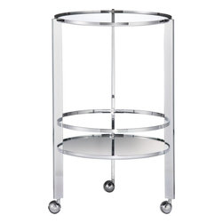 Ernest Chrome Bar Cart  | CB2 - Retro cocktail ritual rolls new-fashioned in swank design by Mash Studios. Gleaming chrome double-decker interchanges mirror/glass discs to wheel in drinks, nibbles, bartender tools.