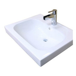 Bellaterra Home 24.4W x 19.5D in. Ceramic Integral Sink Vanity Top - The charmingly traditional Bellaterra Home 24.4W x 19.5D in. Ceramic Integral Sink Vanity Top is an ideal choice for quick and easy remodels as it fits directly over your existing vanity with ease. This all-white ceramic countertop with integrated sink is a durable luxury that will enhance your decor and your overall bathroom experience. The modern, geometric design shows off elegant angles all the way around and the bowl itself illustrates a matching rectangular shape with rounded corners and a deep 6-inch basin. A pre-drilled hole makes installation of a single slot faucet easy and the bowl also comes with a built-in overflow for less mess and added convenience. Faucet, backsplash, and drain are all sold separately.About BellaterraBy combining novel manufacturing processes with traditional craftsmanship and rigorous inspections, Bellaterra retains an unblemished reputation for fine quality and customer service. For over 15 years, the owners of Bellaterra have made certain that production is meticulously managed, from choosing materials to the impeccable construction. All-wood finishes prevent humidity and water damage, ensuring all Bellaterra products remain un-warped, unstained, and gorgeous for a lifetime.