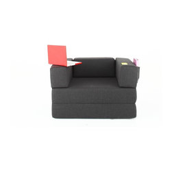 NYFU - The Transformer Anthracite - An armchair with side storage that transforms into a love seat, lounger and a twin bed! You'll enjoy the super simple conversions as you create all forms effortlessly. This jaw dropping smart design will definitely impress your guests.The abundant Class A HR-35 foam cushioning brings extra comfort to both sitting and sleeping. Don't hesitate to use in all forms often, the foam is very durable and the cotton and linen base fabric maintains a firm surface for many years.