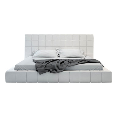 Modloft - Modloft Thompson Leather Platform Bed in White Leather - King - White Leather Tufted Modern Platform Bed belongs to Thompson Collection from LOFT Series by Modloft Elegance defines the Thompson bed with its square tufted upholstery and even symmetry. Bed is offered in either a natural genuine leather or luxurious tweed fabric. The mattress sits snuggly atop a solid pine-slat base for stylistic durability and added comfort. Platform height measures 9 inches. Available in California-King, Standard King, Queen, and Full sizes. Available in White natural leathers. Also available in Beige fabric. Hardwood construction. Mattress not included. Headboard (1), Base (1), Slats