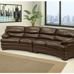 Abbyson Living Tuscanova Premium Top Grain Leather Sectional Sofa - Chestnut Bro - There are plenty of reasons to upgrade your couch, but not many of those reasons are as comfortable or luxurious as the Abbyson Living Tuscanova Premium Top Grain Leather Sectional Sofa - Chestnut Brown. This plush sofa features a top-grain leather exterior that's supported by high-density foam and no-sag springs. You've got segmented back cushions throughout for greater lumbar and head support, and the wide, pillow top arms with deep seat cushions make sure that your relaxation is nearly effortless. The robust frame is crafted from kiln-dried hardwood that's block-reinforced and ready for a lifetime of regular attention.About AbbysonBased in California, Abbyson has been America's leading home lifestyle furnishings brand since 1989. Following a mission that aims to combine style, function, affordability, sustainability and diversity into all their products, Abbyson creates classic and transitional designs that let their customers regain the control in the environments that they call home. With operations in Italy, China, and Germany, Abbyson focuses on using the finest materials, craftsmen, and techniques, from their classic leather furniture sets to organic, hand-knotted Tibetan rugs. Abbyson recently partnered with the Sustainable Furnishings Council as part of their effort to find new ways to bring sustainable practices to home furnishings marketplace. Through their green initiatives and everyday design and construction practices, Abbyson keeps striving to meet their customer's lifestyle needs, and revitalize their day-to-day routines.