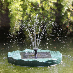 Outdoor Classics - Floating Lily Solar Pond Fountain With Battery Pack and LED -