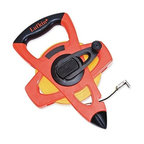 """Cooper Tools - Fe300 1/2 In. X300 Ft. Long Tape - OPEN REEL FIBERGLASS TAPE  Open four-arm frame design protects blade  Does not trap dirt in case  Graduated in feet/inches to 8ths-  numbered feet and instantaneous feet  Strong lightweight case-easy to handle & rewind  Two-material grip is comfortable to use  Folding end hook for true-zero measurements  Yellow fiberglass blade impervious to moisture    FE300 1/2 IN. X300 FT. LONG TAPE  SIZE:1/2""""x 300 Ft.  COLOR:Hi-Vis Orange"""