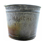Manchester Sprinkler Bucket - Galvanized metal bucket once used for lazy beach days, perfect patina and rust. Use as display or repurpose into a light fixture for your home.