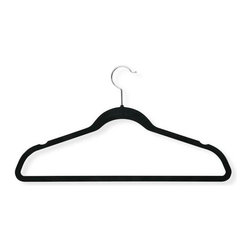 "Honey Can Do - Velvet Touch Suit Hanger in Black - Pack of 3 - Super slim design. 1/4"" profile. Non-slip velvet finish. Prevents clothes from slipping. Limited lifetime warranty. 17.75 in. L x 0.27 in. W x 9.5 in. H (0.75 lbs.)Honey-Can-Do HNG-01339 3-Pack Velvet Touch Suit Hanger, Black. Beautiful, soft, and durable this clothes hanger is contoured to keep shirts, dresses, jackets, and pants perfectly wrinkle-free. Features a 360 degree chrome, swivel rod hook to hang items easily on any closet rod, towel bar, or standard size door. Durable metal construction provides strength, reliability, and long-lasting beauty. Black velvet coating is gentle on delicate garments and provides a non-slip surface that holds fabrics beautifully in place. Slim, space-saving design makes the most use of available hanging space."