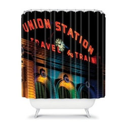 DENY Designs Bird Wanna Whistle Union Station Shower Curtain - Take the train to shower town with the ultra stylish DENY Designs Bird Wanna Whistle Union Station Shower Curtain. The bright and bold photo of Union Station will add an artistic touch to your bathroom while letting you dream of the romance of a train ride.About DENY DesignsDenver, Colorado based DENY Designs is a modern home furnishings company that believes in doing things differently. DENY encourages customers to make a personal statement with personal images or by selecting from the extensive gallery. The coolest part is that each purchase gives the super talented artists part of the proceeds. That allows DENY to support art communities all over the world while also spreading the creative love! Each DENY piece is custom created as it's ordered, instead of being held in a warehouse. A dye printing process is used to ensure colorfastness and durability that make these true heirloom pieces. From custom furniture pieces to textiles, everything made is unique and distinctively DENY.