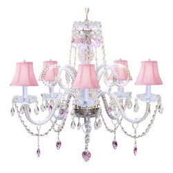 "The Gallery - CHANDELIER LIGHTING W/ CRYSTAL PINK SHADES & HEARTS! H25"" x W24""SWAG PLUG IN-... - *DRESSED WITH CRYSTAL HEARTS* A Great European Tradition. Nothing is quite as elegant as the fine crystal chandeliers that gave sparkle to brilliant evenings at palaces and manor houses across Europe. This beautiful crystal chandelier is decorated with 100% crystal that capture and reflect the light of the candle bulbs, each resting in a scalloped bobache. The timeless elegance of this chandelier is sure to lend a special atmosphere in every home. Please note this item requires assembly.H.25"" W.24"" 5 LIGHTS assembly required **SHADES INCLUDED** Lightbulbs not included . THIS ITEM COMES WITH A SWAG PLUG-IN KIT , 14 FEET OF HANGING CHAIN AND WIRE"