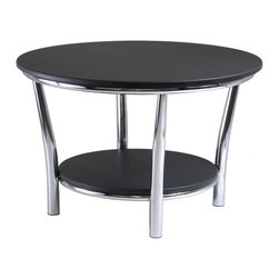 """Winsome Wood - Winsome Wood Maya Round Coffee Table w/ Black Top & Metal Legs - Round Coffee Table w/ Black Top & Metal Legs belongs to Maya Collection by Winsome Wood Maya Table Collection offers the ultimate in contemporary decor. Round Coffee Table 29"""", A large round top and a shelf 19.60"""" Diameter below offer function and style. This accent table features a polished steel frame with MDF top and shelf. 12"""" Clearance from top to shelf. Ready to assemble. Coffee Table (1)"""