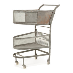 Go Home - Go Home Vintage Shopping Cart - This vintage shopping cart has a classy look and is suitably designed to be part of a departmental store. This vintage shopping cart features an ample space for storage of sundry items of everyday use. This vintage shopping cart is one of its kinds in its appearance and has wheels on the base that allows easy portability.