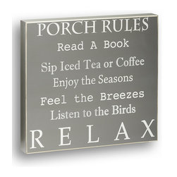 Collins - 'Porch Rules' Box Sign - Sweet and inspirational words make for most marvelous d̩cor accents, thankfully this wooden sign speaks volumes. �� 12'' W x 11'' H x 1.5'' D Wood Ready to hang Imported