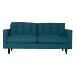 Apt2B - Logan Apartment Size Sofa, Chicago Blue - Add a bit of vintage glamour to your space with the Logan. Sleek wood legs and button tufted back cushions take this modern shape to an elevated level. The ultimate show piece for your stylish room. Each piece is expertly handmade to order in the USA and takes around 2-3 weeks in production. Features a solid hardwood frame and upholstered in a textured poly-blend fabric.