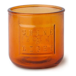 WS Bath Collections - Saon Colored Glass Candle Holder, Orange #44015 - Saon by WS Bath Collections, Candle Holder in Colored Glass with Chrome Pump, Available in Orange, Pink or Blue
