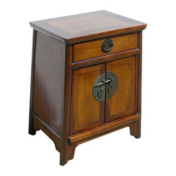Golden Lotus - Nightstand End Table Chinese Ming Style Brown Moon Face Cabinet - This is a Chinese ming style nightstand end table which is made of solid elm wood.  The front of cabinet has Chinese moon face design on it.