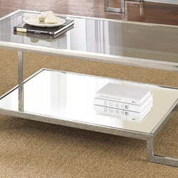 None - Cordele Chrome and Glass Coffee Table - Contemporary and elegant,the Cordele chrome and glass coffee table is the perfect accent to enhance your living space. The shiny chrome frame with smoked glass top and raised base will make a statement in your home.