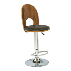 Leick Furniture - Leick Furniture Mousehole Adjustable Height Swivel Stool (Set of 2) - Leick Furniture - Bar Stools - 10044 - The Leick Espresso Mousehole Adjustable Height Swivel Stool offers a heavy duty steel cylinder for smooth and reliable seat height adjustment. A versatile seat for counter height bar height or anything in between. A great blend of wood steel and faux leather construction brings a unique modern style and interest to your decor. Full swivel seats and sturdy footrests top off this stool and make it a favorite.