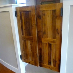 "Barn Doors - Not only are we getting requests for sliding doors, we also have clients who want Western Style Swinging ""Saloon"" Doors.  Pictured are some that we did for a local Chiropractor's Office.  These are a great solution for partitioning a room without completely blocking it off, keeping the open feel and helps the space ""flow""."
