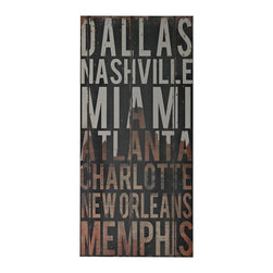 American Cities Subway Typography 3 Wall Decor - *Dimensions: 32Hx15Wx1.5L