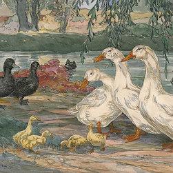 Magic Murals - Duck Painting Wallpaper Wall Mural - Self-Adhesive - Multiple Sizes - Magic Mura - Duck Painting Wall Mural