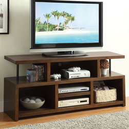 Coaster - 701374 TV Console - The casual and minimalistic style of this TV console is perfect for most home decor. Featuring a beautiful wood veneer exterior with plenty of open shelving space for personal items and media devices.