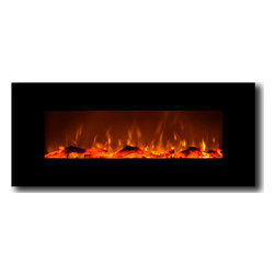 "Touchstone Home Products - Touchstone Onyx Electric Wall-Mounted Fireplace, Black - The Touchstone Onyx is a beautiful, 50"" wide, electric fireplace with realistic flames and contemporary black frame that will make a strong design statement in your living room, family room or any room in your home. The electric fireplace delivers the beauty of a fireplace without the fire and smokey smell. The Onyx has 2 heat settings (high and low), and will heat a room up to 400 sq. ft.. Also, the fireplace's flame can can be used without the heating feature. The Onyx is easy to install and comes with easy to follow instructions."