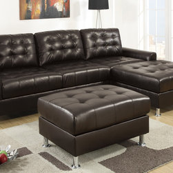 European Small Tuft Espresso Leather Sectional Sofa Reversible Chaise - A regal design of classic dimensions, this sectional upholstered in black bonded leather features tufting from backrest to seat cushions blending in with a modern décor. Its frame is supported by shiny silver legs with rounded flat ends.