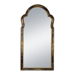 "Inviting Home - Chinoiserie Wall Mirror - Chinoiserie style wall mirror in wooden frame with black and gold design 25-1/2"" x 2-1/2""D x 51""H Hand-crafted vertical Chinoiserie style mirror. Wall mirror has beautiful black scalloped wooden frame hand painted in gold with traditional Chinoiserie design."