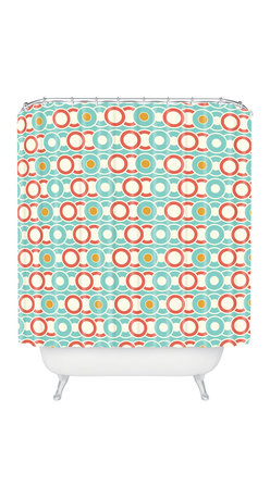DENY Designs - Heather Dutton Ring A Ding Shower Curtain - Bands of gold — and salmon, aqua and white — create the kind of rings around the tub you'll like! Custom printed on woven polyester, this shower curtain is also machine washable. If you like it, put a ring on it.