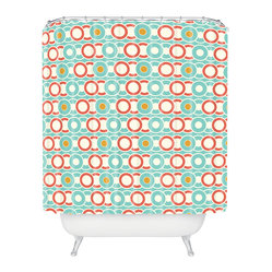Heather Dutton Ring A Ding Shower Curtain - Bands of gold — and salmon, aqua and white — create the kind of rings around the tub you'll like! Custom printed on woven polyester, this shower curtain is also machine washable. If you like it, put a ring on it.