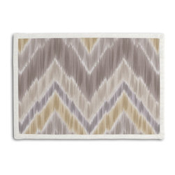 Gray & Yellow Large Ikat Chevron Tailored Placemat Set - Class up your table's act with a set of Tailored Placemats finished with a contemporary contrast border. So pretty you'll want to leave them out well beyond dinner time! We love it in this giant ikat chevron in pastel grays & yellows on smooth sateen. this flamestitch will set your decor ablaze.