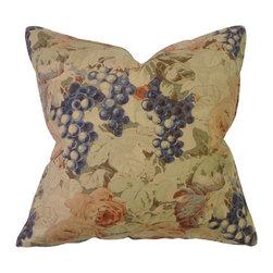 Bennison Floral Grapevine Pillow - Grapevine floral on tea stained linen, blue linen back.