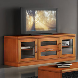 Features: -Solid wood fluted edge detail.-Smoked, tempered-glass doors ...