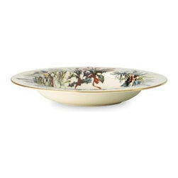 Lenox Winter Greetings Pasta / Rim Soup Bowl - 9 in. - Just right for serving your family-secret Bolognese sauce, the Lenox Winter Greet Pasta / Rim Soup Bowl - 9 in. is simply beautiful. Designed by artist Catherine McClung, this dishwasher-safe dish features a natural bird, winter greenery, and bow pattern rimmed in 24 karat gold.About Lenox:The Lenox Corporation is an industry leader in premium tabletops, giftware, and collectibles. The company markets its products under the Lenox, Dans, and Gorham brands, propelled by a shared commitment to quality and design that makes the brands among the best known and respected in the industry. Collectively, the three brands share 340 years of tabletop and giftware expertise.
