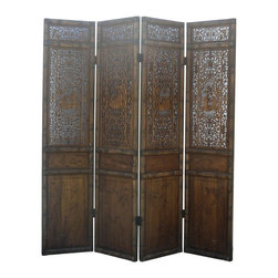 Golden Lotus - Chinese Oriental Scholars See Through Pattern Door Panel Screen - This is a set of four tall door panel screen divider with nicely crafted oriental chinese old man scholars gathering see through scenery.  From Left to right, playing music, play chess, reading and painting
